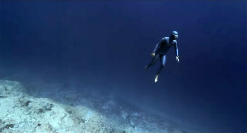 Ryan floats in the Cathedral of Poseidon